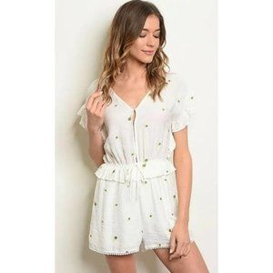 Very J Floral Embroidered Ruffled Romper